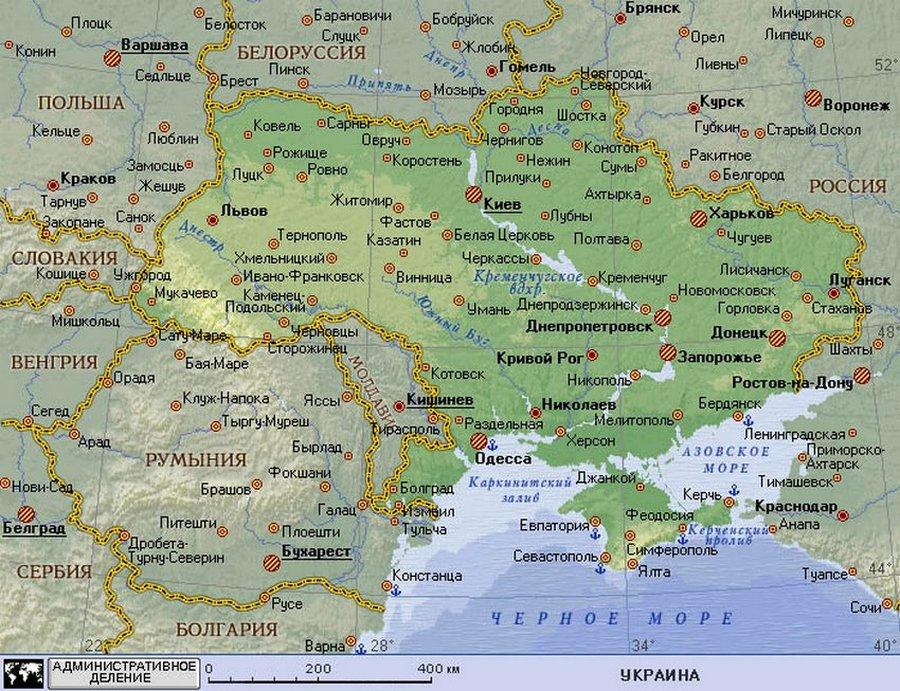 Карта Украины Туристическую карту Украины по достоинству оценят