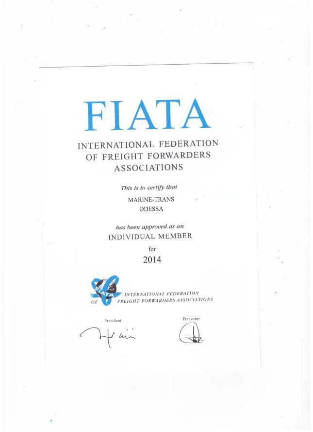 Certificate International Federation of Freight Forwarders Associations (FIATA)